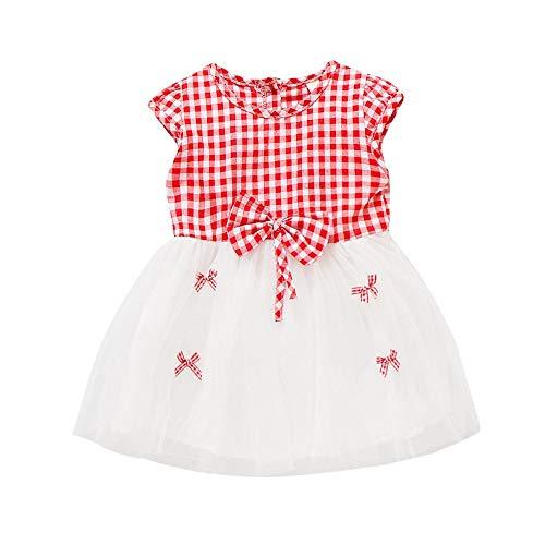 TEVEQ Newborn Toddler Baby Girls Dress Plaid Bowknot Net Yarn Casual Dress Clothes Red]()