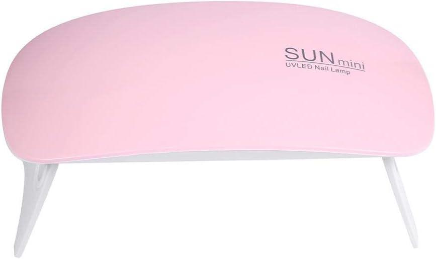 Mini lámpara de uñas USB UV Secador de uñas Gel Herramienta de arte de esmalte de uñas, 2 colores SUN Mini secador de uñas 6W UV Lámpara de gel de curado Herramienta de manicura portátil(02)