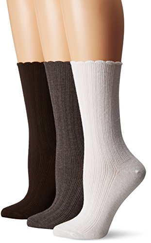 No Nonsense Women's Scallop Pointelle Sock 3-Pack, Assorted, 4-10 ()