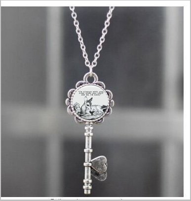 Oval Bambi & Mother 'Always with you' quote dome Necklace Key ,Unique Necklace Key Customized Gift,Everyday Gift Necklace Key ()