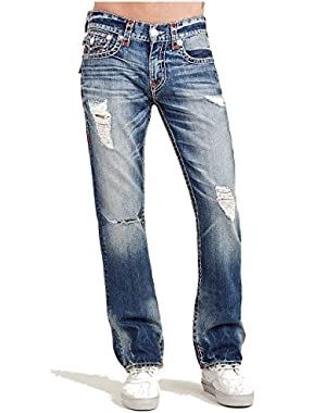 Men's Straight Leg Relaxed Fit w/ Flap Pockets Destruct Rip Jeans in True Illusion