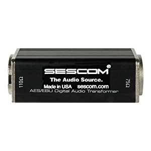 Sescom SES-AES-EBU-2 BNC Female to XLR-M AES/EBU Impedance Transformer, 0.1 to 6MHz Bandwidth