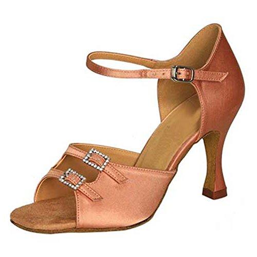 YFF Don Mujeres Zapatos de baile Zapatos de baile de tango danza latina 8CM Apricot color