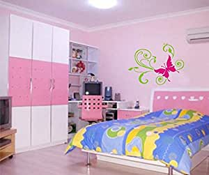 Xpert Decor Ds-anb-28 Removable Wall Sticker (green And Pink)