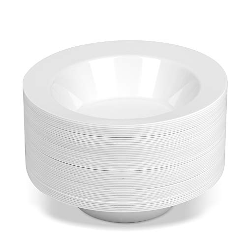 50 Large Disposable White Plastic Soup Bowls | 14 oz. Premium Heavy Duty Disposable Dinnerware with Real China Design (50-Pack) by Bloomingoods