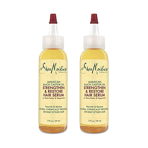 Shea Moisture Jamaican Black Castor Oil Strengthen & Restore Hair Serum, 2 Oz, Pack of 2