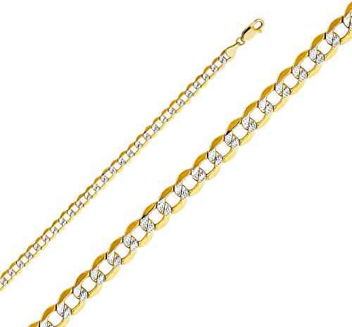 Wellingsale 14k Yellow Gold 4.9mm Polished Cuban Concaved Curb White Pave Diamond Cut HOLLOW Chain Necklace with Lobster Claw Clasp