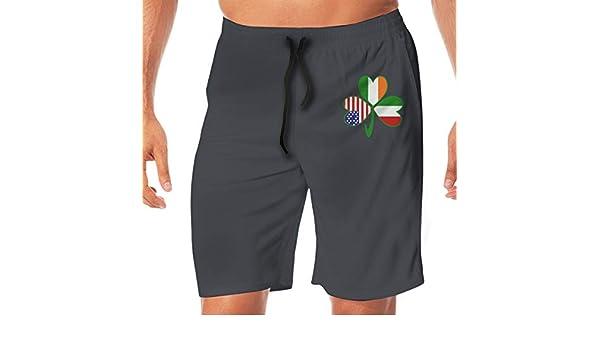 Italian Irish American Shamrock Mens Casual Beach Shorts Elastic Waist Surf Shorts
