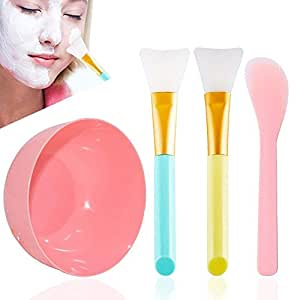 Face Mask Mixing Bowl Set, Apartner 4 in 1 DIY Facemask Mixed Tool Kit Includes Facial Mask Mixing Bowl, Stick Spatula and Silicone Cream Mask Brushes for Daily Use