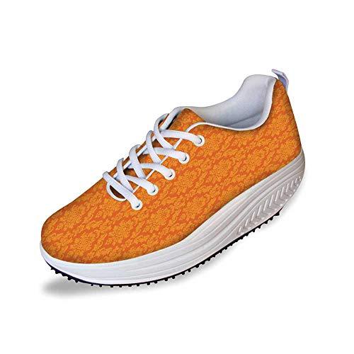 Burnt Orange Stylish Shake Shoes,Classic Baroque Venetian Random Patterns with Antique Decorative Floral Leaves Home Decorative for Women,11