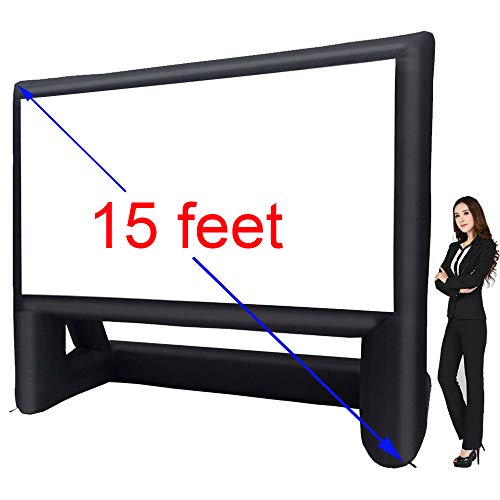 15' Inflatable Outdoor Projector Movie Screen - Package with Rope, Blower + Tent Stakes - Great for Outdoor Backyard Pool Fun (15 feet)