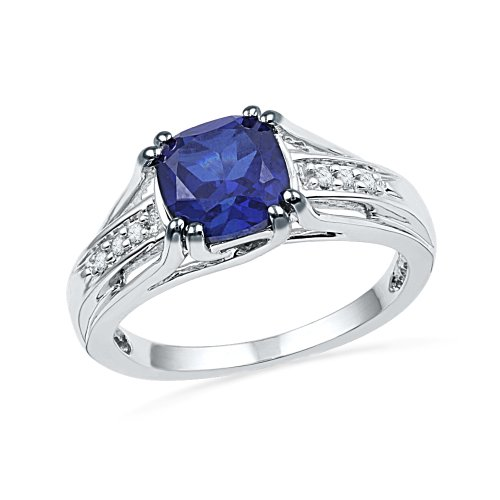 Sterling Silver Lab Created Blue Sapphire and White Round Diamond Fashion Ring