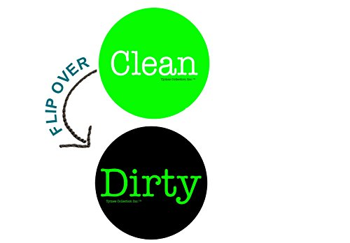 """2"""" Double Sided Round Dishwasher Flip CLEAN & DIRTY Premium 50 mil Dishwasher Magnet. MADE in USA (Green & Black)"""