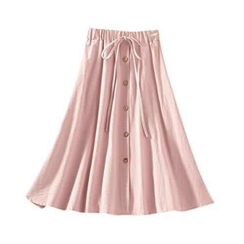 Sendke Fashion Elastic High Lace Waist Skirt Wild Loose Solid Knee-Length Skirt Button Leisure Flax Skirt Pink]()