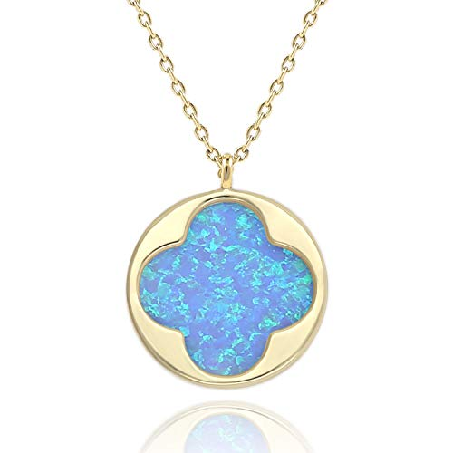 (COZLANE 14K Gold Four-Leaf Clover Opal Necklace Round Disc Van Cleef Pendant for Women Girls (Opal) )