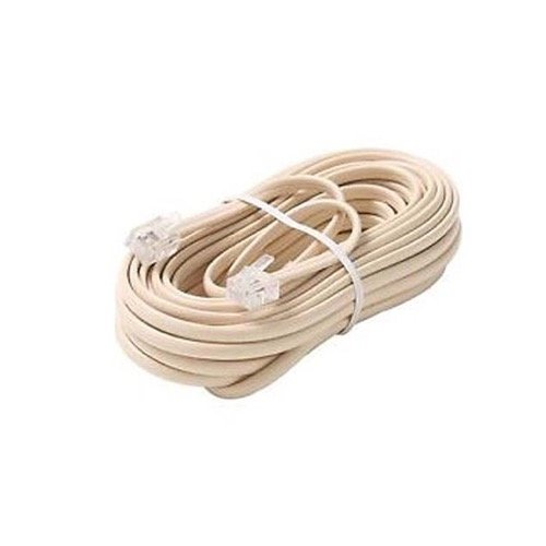 100' Telephone Line Cord Flat with RJ11 Plug Connection Each End Ivory 4-Conductor Modular End Phone Voice Ultra Flexible Flat Telephone Cord Extension RJ-11 6P4C Snap-In Connector Jacks