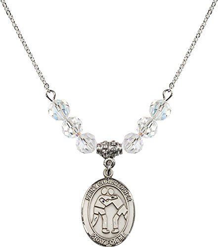 Rhodium Plated Necklace with 6mm Crystal Birthstone Beads & Saint Christopher/Wrestling Charm. by F A Dumont