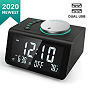 #LightningDeal ANJANK Small Digital Alarm Clock Radio - FM Radio,Dual USB Charging Ports,Dual Alarms with 7 Alarm Sounds,Adjustable Volume,Temperature,5 Level Brightness Dimmer,Battery Backup,Bedrooms Sleep Timer
