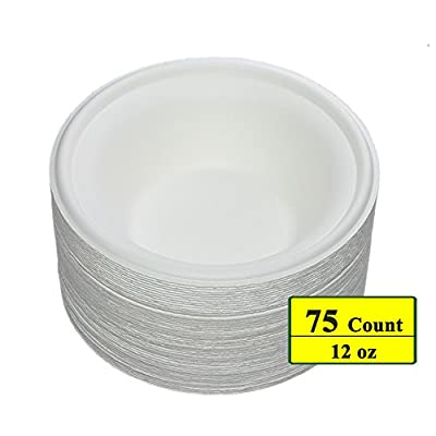 Benail 12 oz Round Disposable Bowls Eco-friendly 100% Natural Sugarcane Biodegradable Compostable Bagasse Tree Free and Plastic Free
