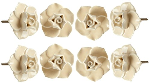 Beige Ceramic Flower Decorative Replacement Furniture Kno...