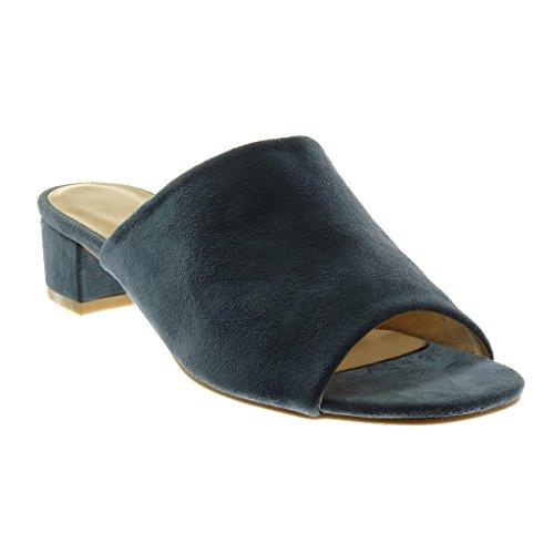 Angkorly Women's Fashion Shoes Sandals Mules - Slip-on - Peep-Toe Block High Heel 4 cm Blue 7fYRRiTEZ