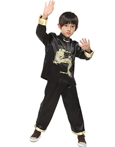 [Shanghai Story Traditional Chinese Boy Dragon Kung Fu Outfit Tang Costume 8 Black] (Black Martial Arts Costume)