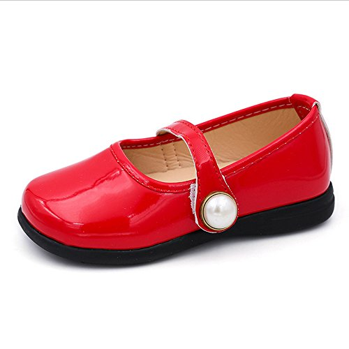 Toddler Girl Patent Leather Pearls Mary Jane Princess Dress Shoe Ballerina Flats Red Size 29 by LINKEY (Image #1)