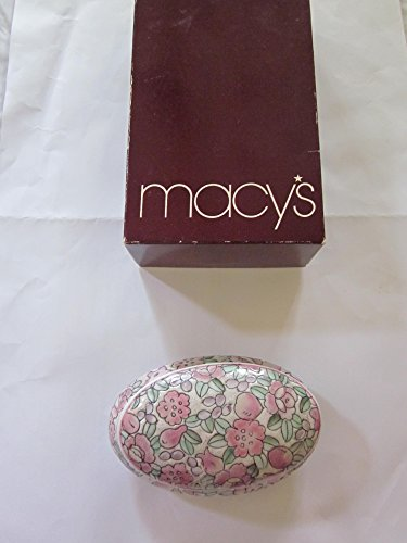 "Porcelain Hand Painted Decorative Flowered Design Oval Covered Dish, 5"" x 3"" x 2"", Light Pink and Light Green, in Macy"