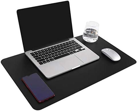 Multifunktionales Office Mauspad, YSAGi Wasserdichte Schreibtischunterlage aus PU-Leder, Ultradünnes Mousepad zweiseitig nutzbar, ideal für Büro und Zuhause (Schwarz, 60 * 35 cm)