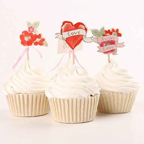 Heart Double Sided Paper (Value Pack- 24 Cupcake Toppers Picks- Various Themes (Romantic Heart))