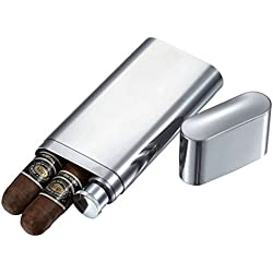 Visol Products Palencia Stainless Steel 2-Finger Cigar Case with Flask