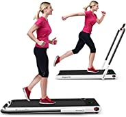 GYMAX Folding Treadmill, 2 in 1 Under Desk Electric Running Machine with Bluetooth & LED Screen, Portable