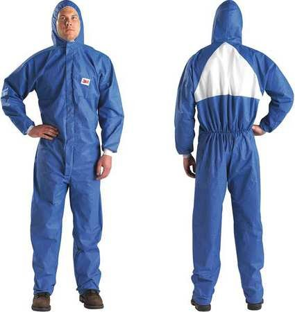 3m Hooded Disposable Coveralls with Knit Material, Blue/White, 4XL 4XL Blue/White SMMS 4530-BLK-4XL - 1 Each