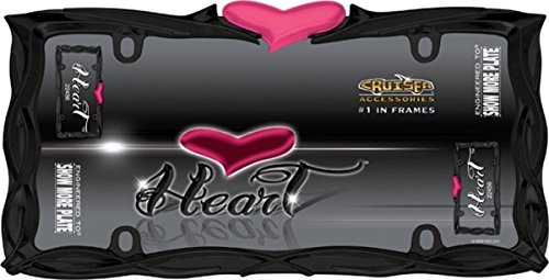Cruiser Accessories 22456 Glossy Black/Pink Heart License Plate Frame (Frame Performance Accessories)