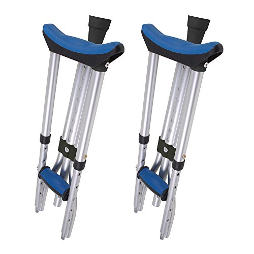 Carex Folding Crutches - Folding Aluminum Underarm Crutches - Lightweight, Great for Travel or Work, 2 Crutches Included, for 4'11