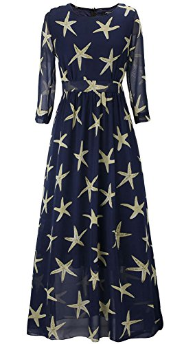 IYISS Women Plus Size Chiffon Maxi Beach Starfish Dress (US Size 2XL, Dark Blue)