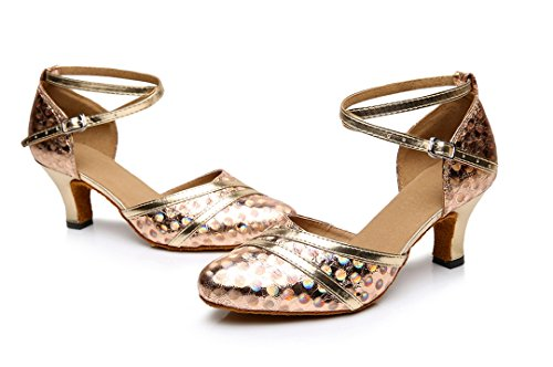 Prom Latin Synthetic Party Toe Print Closed MGM 6cm Dance Shoes Gold Wedding Heel Dance Joymod Heel Ballroom Women's Social Pumps Mid Modern Ptw0qZpw