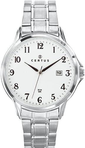 Certus 616386 - Reloj analógico de cuarzo para hombre con correa de acero inoxidable, color plateado