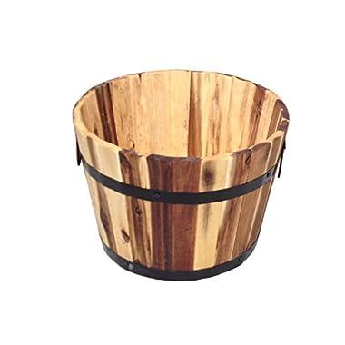 Happy Planter HPCH308 Wood Barrel Outdoor Planter, 18.25 x 12.5