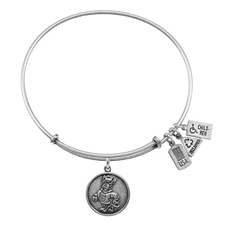 (WIND AND FIRE NC STATE WOLF PACK CHARM SILVER TONE EXPANDABLE BANGLE BRACELET)