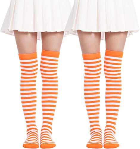 Over Knee Long Sock Striped Mardi Gras Socks St. Patrick's Day Stockings (2 Pairs Orange White socks) -