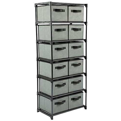 Home-Like12 Drawer Storage Organize, Fabric Chest Dresser, Chest of Drawers, 6 Tier Metal Shelves with 12 Removable Fabric Bins, Storage Organizer Tower for Home Office Dorm Bedroom Entryway,Grey