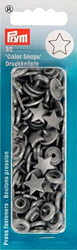 Prym 393245 NF-Buttons Color- Snaps Star, Silver