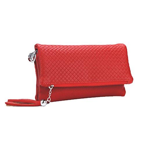 foncé Sac Compartiment Sacs main Donalworld menotte Femmes épaule Noir à Sacs Triple Pochette portés rouge 65SYSwq