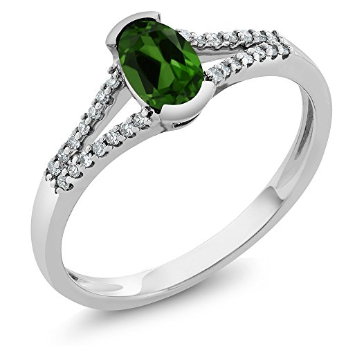 Gem Stone King 10K White Gold Women's Oval 6x4mm Green Chrome Diopside and Diamond Ring (Size 8)