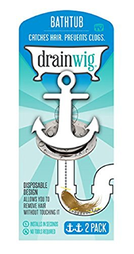 DrainWig- Bathtub Drain (2Pack), Never Clean a Clogged Drain Again, Hair Strainer, Hair Snare, As...