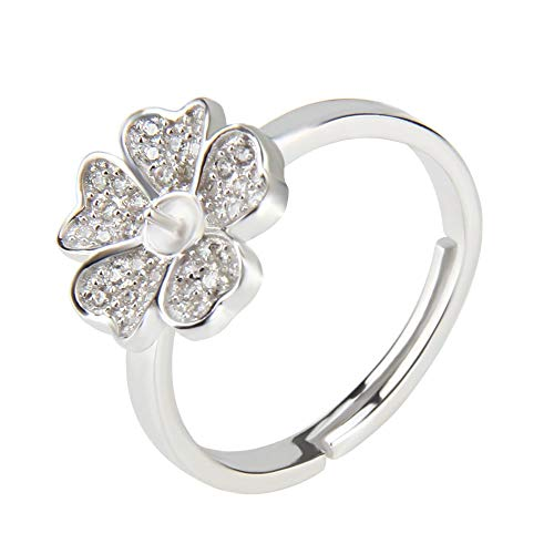 - NY Jewelry 925 Sterling Silver Daisy Flower Ring for Pearl, Adjustable Pearl Ring Settings for Women DIY Jewelry Making