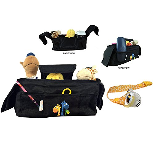 Baby Stroller Organizer with NEWLY ADDED Pacifier Clip; 2 Insulated Cup Holders, 1 Large Pocket, and 3 Accessory Pockets, Velcro Attach Strap and Safety Strap for toys