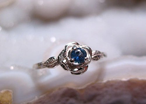 - Montana Sapphire Rose Ring Sterling Silver
