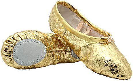 Polka Dot Leather Ballet Belly Slippers Dance Shoes Split-Sole Gymnastics Yoga Shoes for Women